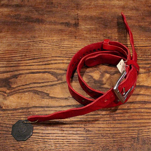 Studs Leather Strap / Red