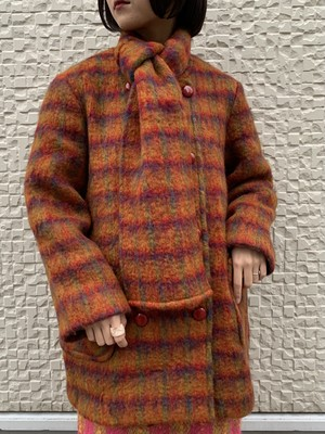 (TOYO) check pattern no collar double button coat