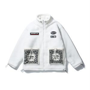 ★UNISEX  ペイズリーパッチワークフリースジャケット(White,Black) 193