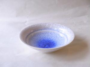 清水焼 結晶釉 八寸鉢 白地に青
