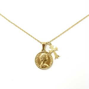 18kgp Coin & Cross Necklace 【GOLD】