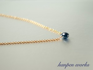 14kgf 9月の誕生石 宝石質 サファイア 一粒 ネックレス