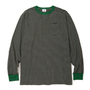 "Just Right ""Wide & Narrow Border Tee"" Dark Brown x Green"