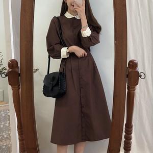 【dress】レトロロング切り替え気質アップデートワンピース24927595