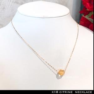 k18 ネックレス 天然石 シトリン 18金 ネックレス 40cm / k18  citrine necklace 40cm