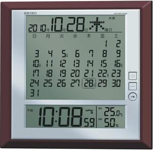 SEIKOマンスリーカレンダー掛置兼用電波デジタル時計 茶メタリック SQ421B