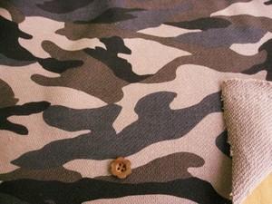綿厚手スエット地カモフラージュプリント ベージュ系 NTP-0011