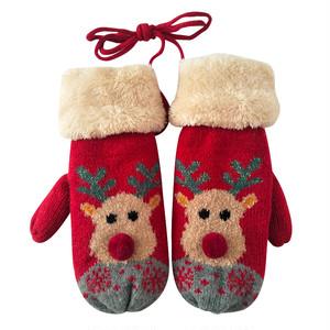 【小物】キュート動物柄ファッション合わせやすいクリスマスプリント手袋24949278