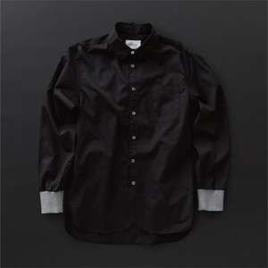 メンズ ロングシャツ 黒×灰