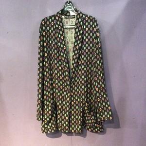 80's black×colorful pattern design tailored jacket [B1882]