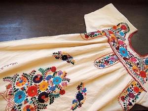 Vintage メキシカン刺繍アイボリーワンピース