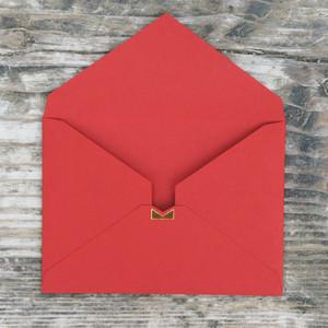 【シンプル赤】カード付スタイリッシュ封筒 HSA01B