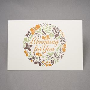 bloomingフラワー ポストカード(緑/橙)