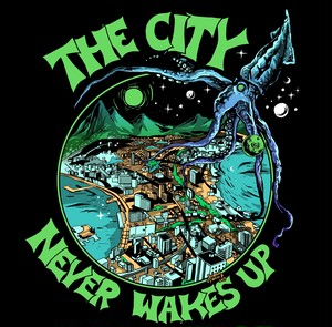 """""""THE CITY NEVER WAKES UP"""" ステッカー"""