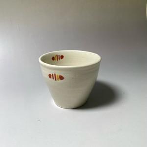 ラインドロップコップ(赤) [ 8.5 x 7cm ] 【初秋の赤絵食卓】