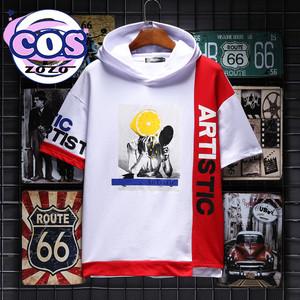 【トップス】カジュアルプリントアルファベットフード付き中袖/五分袖Tシャツ20285401