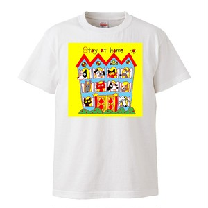 「STAY AT HOME」Tシャツ by 犬の絵描きやさん Eriko Tsukui