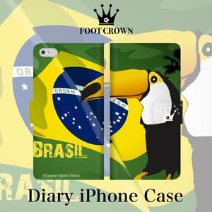 iPhone全機種対応 手帳型スマホケース ブラジル サッカー