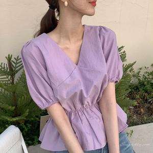 【トップス】海外トレンドファッション若見えスリムウエストフリルパフスリーブシャツ