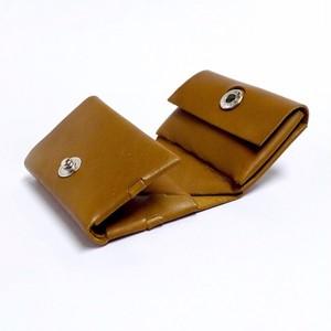 コンパクト三つ折り財布 イタリアンカーフ キャメル