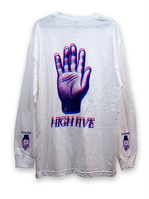 "HAND PRINTED ""High five long sleeve T"""