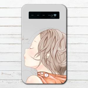 #019-021 モバイルバッテリー 可愛い 女の子 かわいい おしゃれ iphone スマホ 充電器 タイトル:kiss 作:續