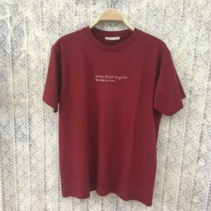 pear fruit to girls T-shirt〈Cherry red〉