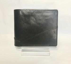 レザー二つ折り財布 ブラック