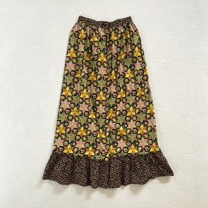 70's | front button patchwork print long skirt