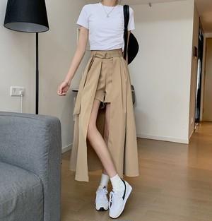 【ボトムス】SNSで話題沸騰ファッションすね丈ハイウエスト不規則スカー