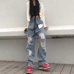 【ボトムス】デニムハダメージファッションストリートパンツ37410619
