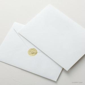 【SET】コットン封筒 ホワイト(洋1)& エンボスシール/10枚セット