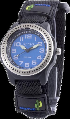 [キッズ腕時計 ボーイズデザイン]ブルー ベルクロ仕様 10気圧防水 CAC-45-M03