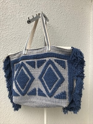 Navy Woven Shoulder Bag without Tassle【America&Beyond】 ビーチバッグ トートバッグ リサイクルバッグ
