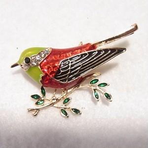 エナメルの野鳥のブローチ コスチュームジュエリーのセール通販 5830B