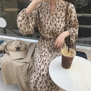 Front Button Flower Long Dress 送料無料