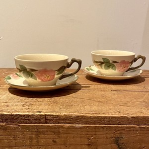"""70〜80年代 ヴィンテージ食器 """"FRANCISCAN"""" フランシスカン アメリカ製 カップ&ソーサーセット フラワー柄 陶器  Usa  Vintage   Desert Rose  Cup&Saucer  Set"""