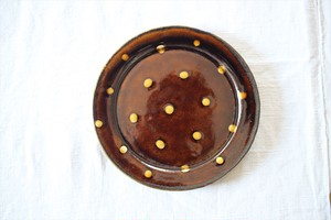 中川紀夫(紀窯) スリップウェア リム丸皿 飴色