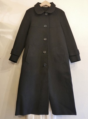 "HERNO ""A-Line"" Wool Long Coat -Black-"