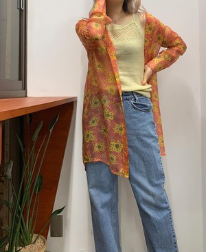 VOTRE NOM JEANS silk  flower printed  see-through long shirts 【S】