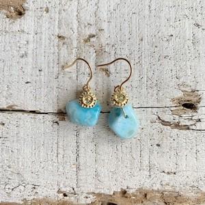 Larimar and sun earrings