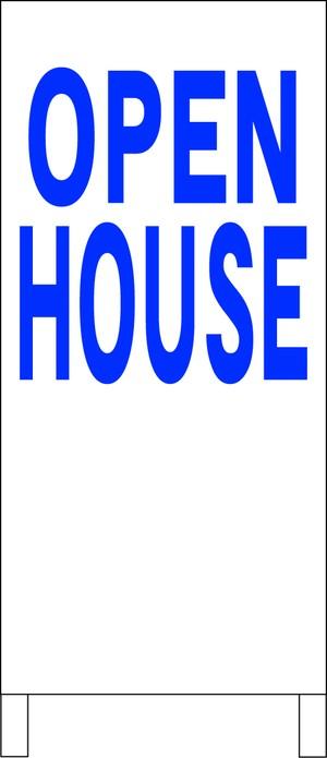 シンプルA型スタンド看板「OPEN HOUSE(青)」【不動産】全長1m