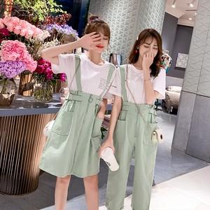 【セットアップ】シンプルファッションTシャツ+海外トレンド合わせやすいジャンパースカート