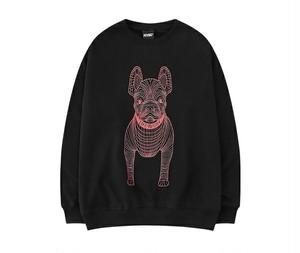 メンズ犬プリントトレーナー。ブラック/レッド/ネイビー/ホワイト4カラー