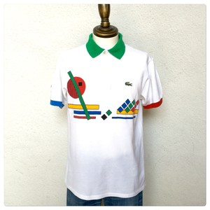 1980s Lacoste Polo Shirt White Made in France P_971