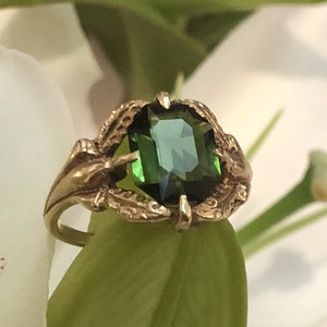 Green Tourmaline Art Nouveau Ring