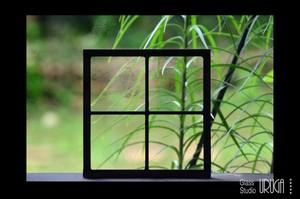 格子模様のステンドグラス(4ピース)