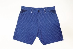 19SS コットンインディゴストライプショートパンツ / Cotton indigo stripe short pants