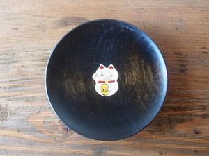 かわいいまねきねこの縁起豆皿|会津漆器| ほくるし堂