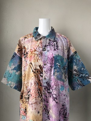 "USED / marble color ""batik pattern"" s/s shirts"